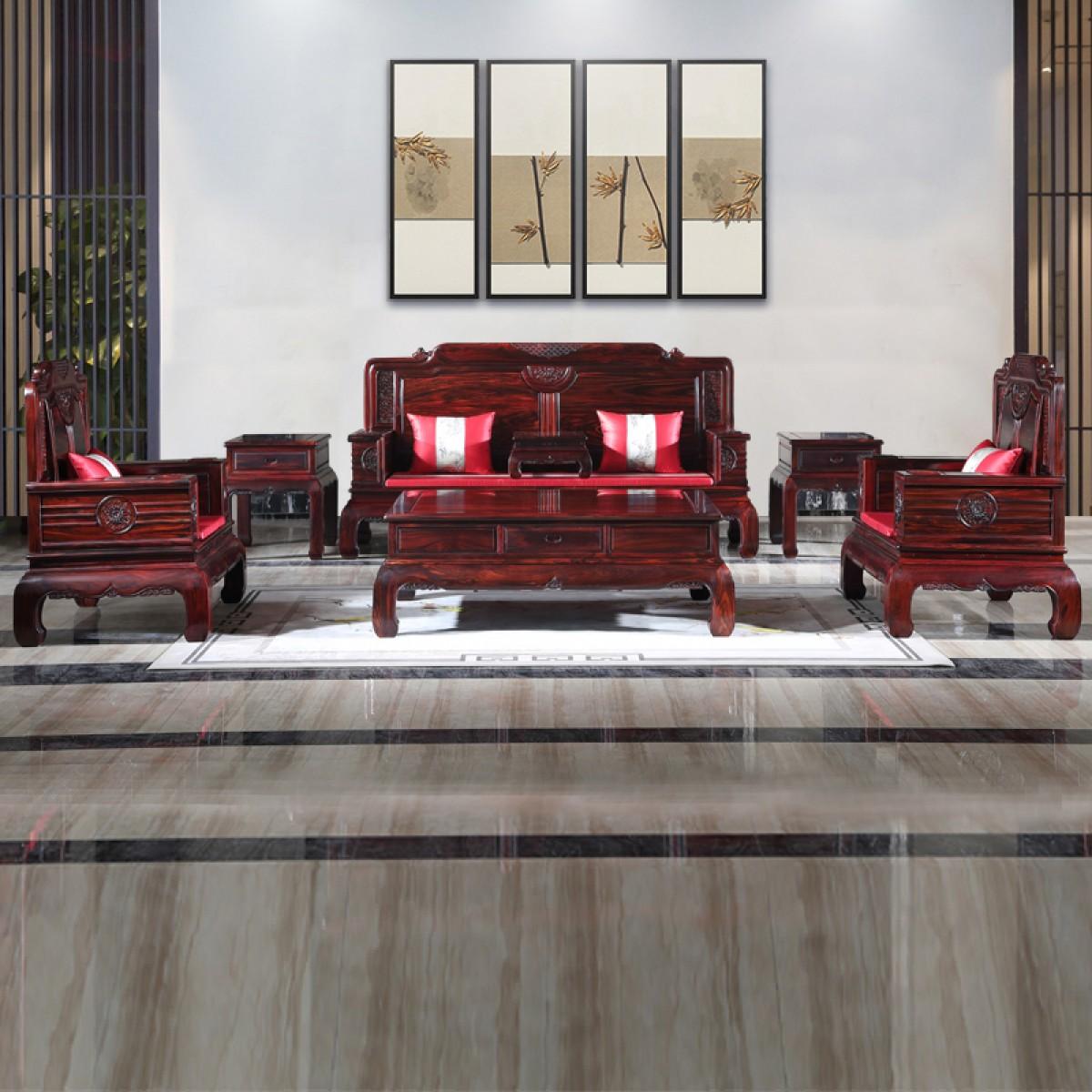 阔叶黄檀印尼黑酸枝金玉满堂沙发客厅古典款国标红木