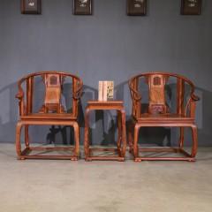 中式靠背椅缅甸花梨木皇宫椅三件套