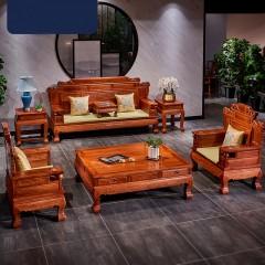 缅甸花梨沙发组合大果紫檀实木沙发红木家具荷花财源滚滚中式沙发七件套