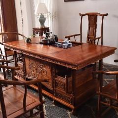 茶桌椅组合实木 中式牡丹茶桌办公室功夫茶桌红木家具泡茶茶台