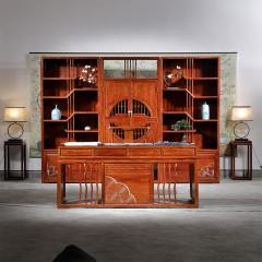 清风书桌新中式红木书桌办公禅意写字书法书画书房书柜桌椅五件套